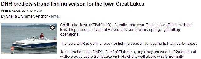 drn predicts strong fishing season for the iowa great lakes