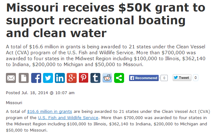 missouri receives 50k grant to support recreational boating and clean water