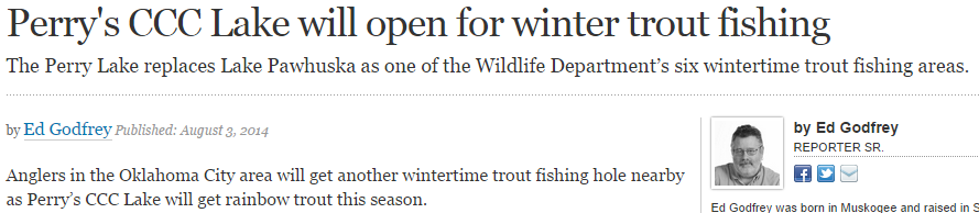 Perrys CCC Lake will open for winter trout fishing
