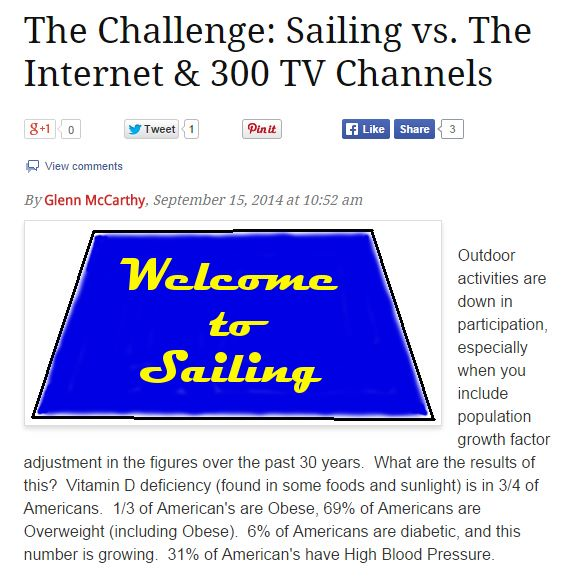 The Challenge- Sailing vs the Internet and 300 tv channels