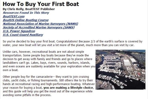 Buy Your First Boat